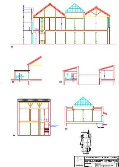 Plano de secciones del Proyecto Espacio Coworking de Mora