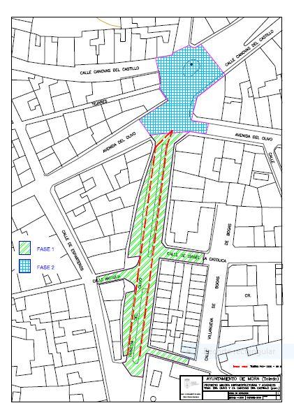 Plano de la Actuación Total del Proyecto de Mejora de Pavimentación e Infraestructuras en Travesía del Olivo y Calle Castilnovo